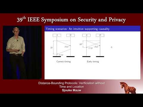 Distance Bounding Protocols: Verification without Time and Location - Sjouke Mauw