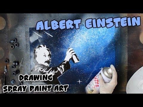 Albert Einstein draws Milky Way - Spray Paint Art