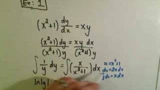 Solving Separable First Order Differential Equations Ex
