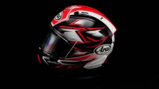 arai corsair x ghost helmet red 360 view
