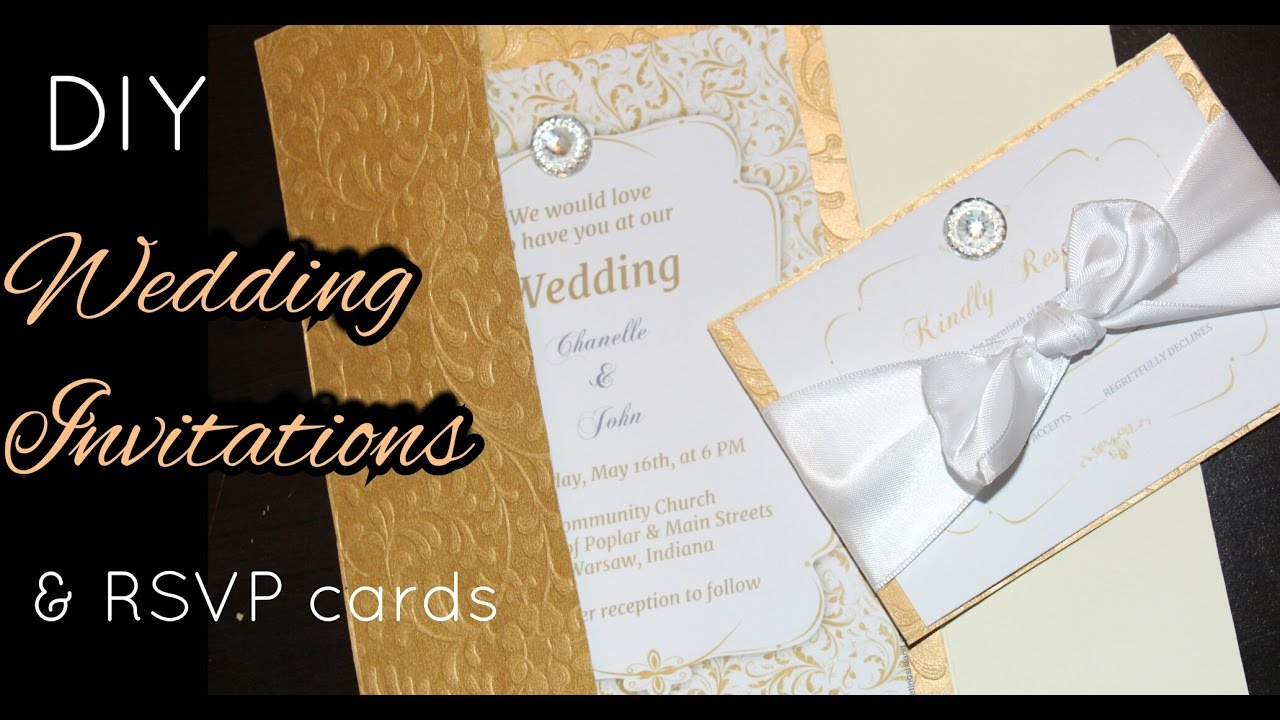 Diy Wedding Invitations With Photo Diy How To Make Elegant Gold Wedding Invitations Rsvp Cards Stationary Cards Easy To Do