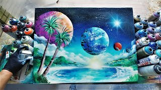 SPACE OASIS  SPRAY PAINT ART By Skech