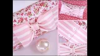 Декор подушки бантом. Beautiful pillow with a bow