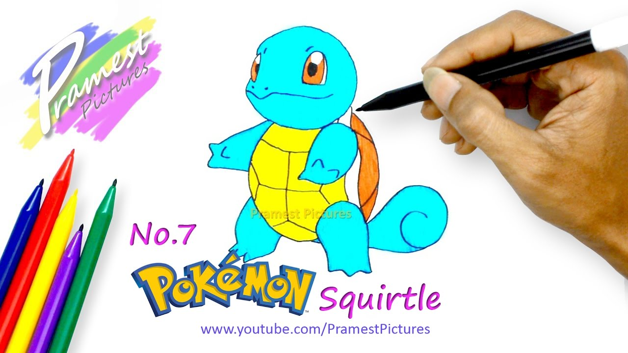how to draw squirtle pokemon coloring pages for kids youtube