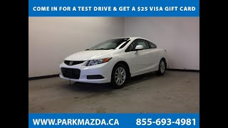 WHITE 2012 Honda Civic Cpe  Review Sherwood Park Alberta - Park Mazda