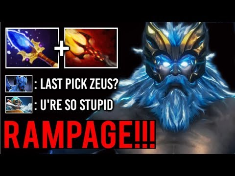 CRAZY 100k Damage In 37 Min! RAMPAGE Zeus Scepter Destroy Top Meta Cores Epic Game 7.22 Dota 2