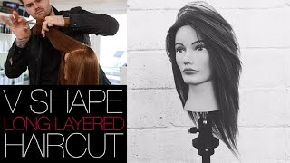V-SHAPED HAIRCUT - How To Cut A Long Layered V SHAPE Haircut | MATT BECK VLOG #22