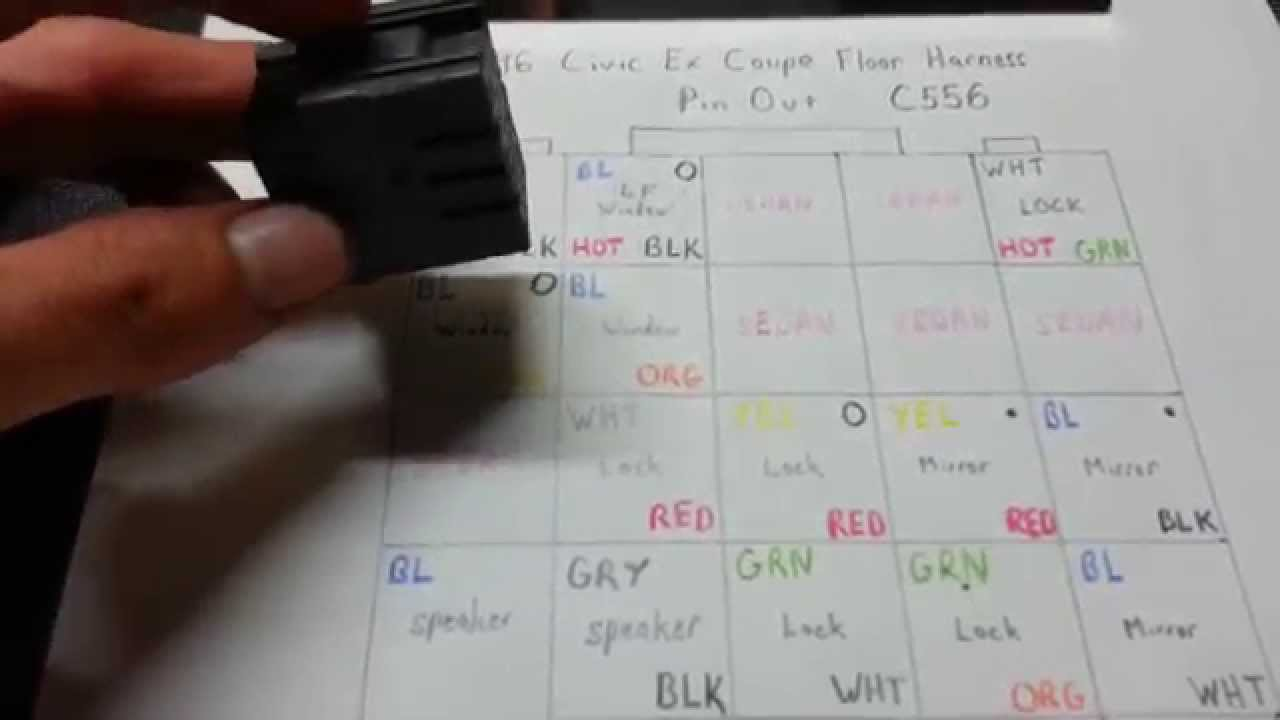 maxresdefault how to depin c556 & fix pwr windows honda civic youtube 1998 honda civic door wiring diagram at bayanpartner.co