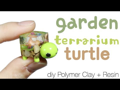 How to DIY Cube Garden Terrarium Turtle Resin/Polymer Clay Tutorial