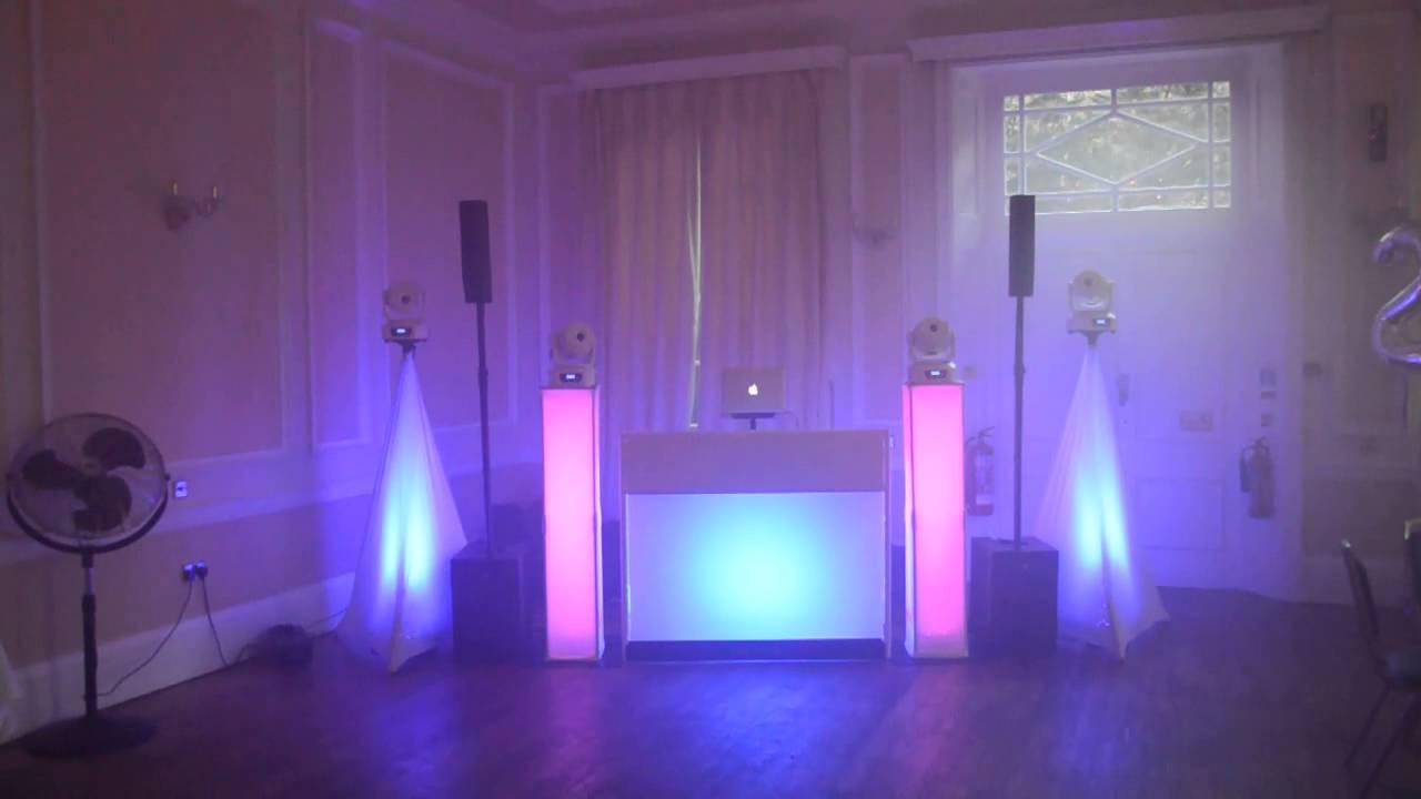 mobile dj set up and light show for a 21st birthday high elms manor in hertfordshire youtube. Black Bedroom Furniture Sets. Home Design Ideas