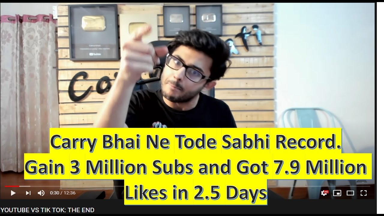 CarryMinati Breaks All Records - Gain 3 Million Subs with 7.9 ...
