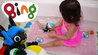 24 Months Old Cute Baby Elise Playing with Swimming Bing Bunny Cbeebies Toy | Kids Play O