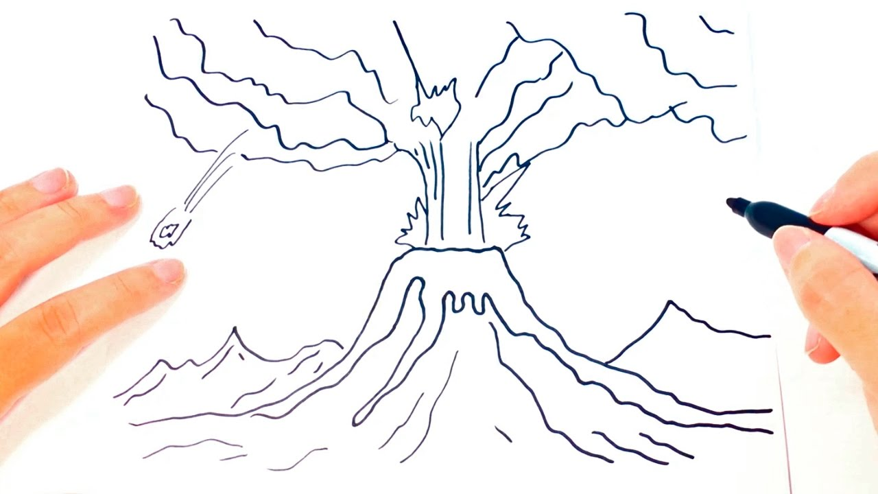 How To Draw A Volcano For Kids Volcano Drawing Lesson Step By Step