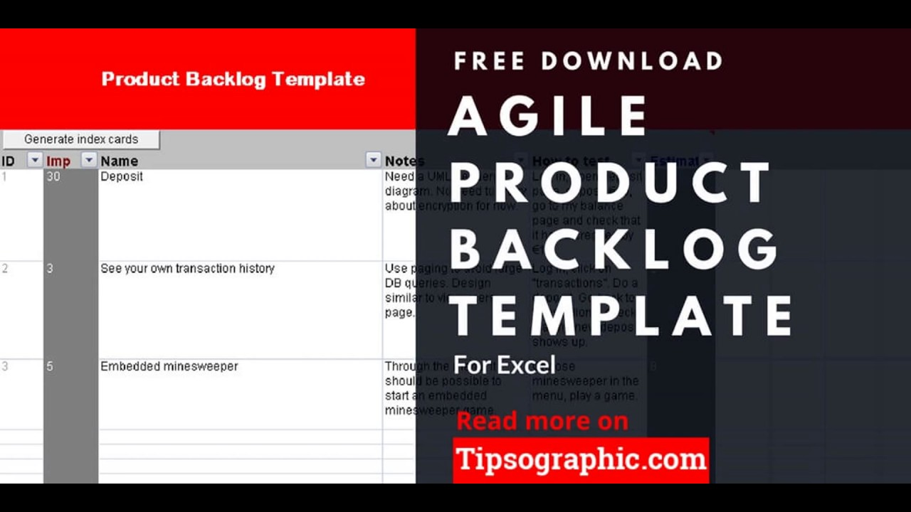 Agile Product Backlog Template For Excel Free Download Http