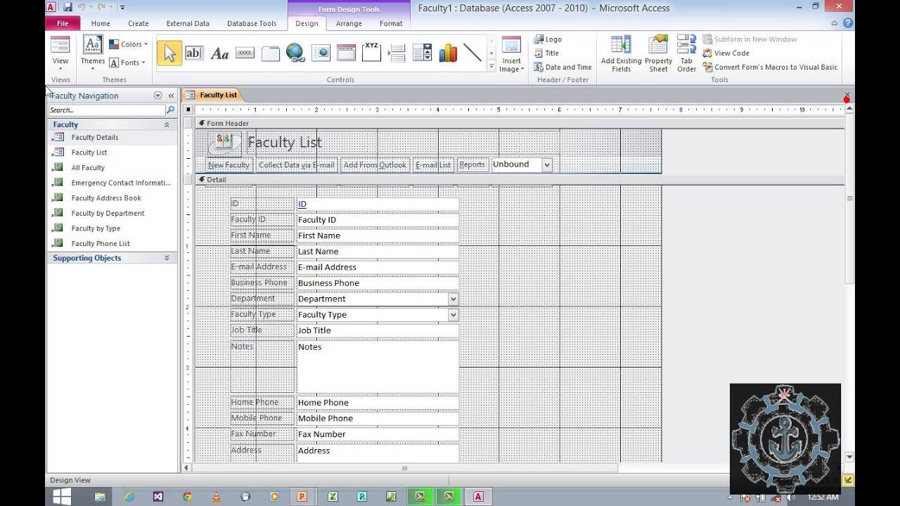 How To Use Sample Templates In Ms Access 2010 An Outlook Youtube