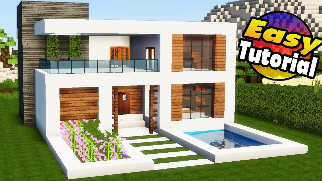 Minecraft easy modern house tutorial interior how to build a house in minecraft