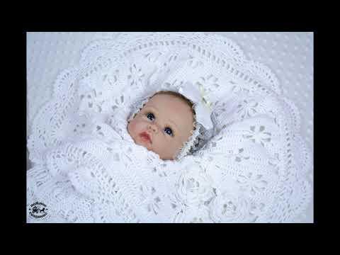 """Плед для новорожденного """"белоснежный сон"""". Вязанное одеяло для малыша"""