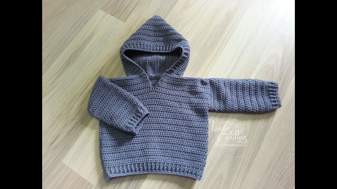 9d018785 Tutorial Jersey Fácil Crochet o Ganchillo Bebé Sweater Baby - YouTube