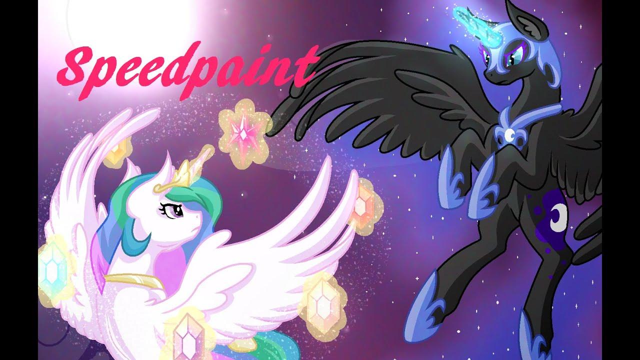 MLP Speedpaint - Celestia vs. Nightmare Moon - YouTube