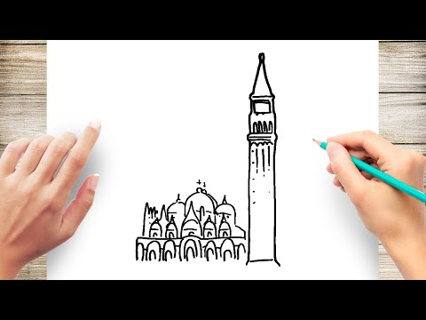 How to Draw st mark's basilica & campanile