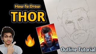 How To Draw Thor Step By Step Sketch Tutorial | THOR Outline Tutorial 🔥👌 #Drawing_thor