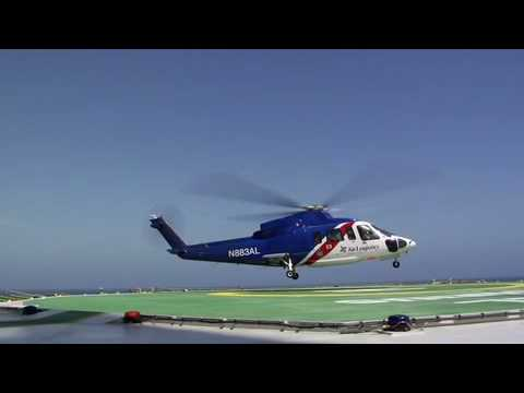 Chopper S76 on and off Oil Rig Gulf of Mexico USA