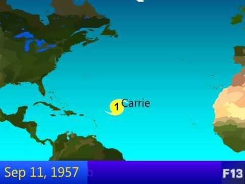 1957 Atlantic Hurricane Season Animation