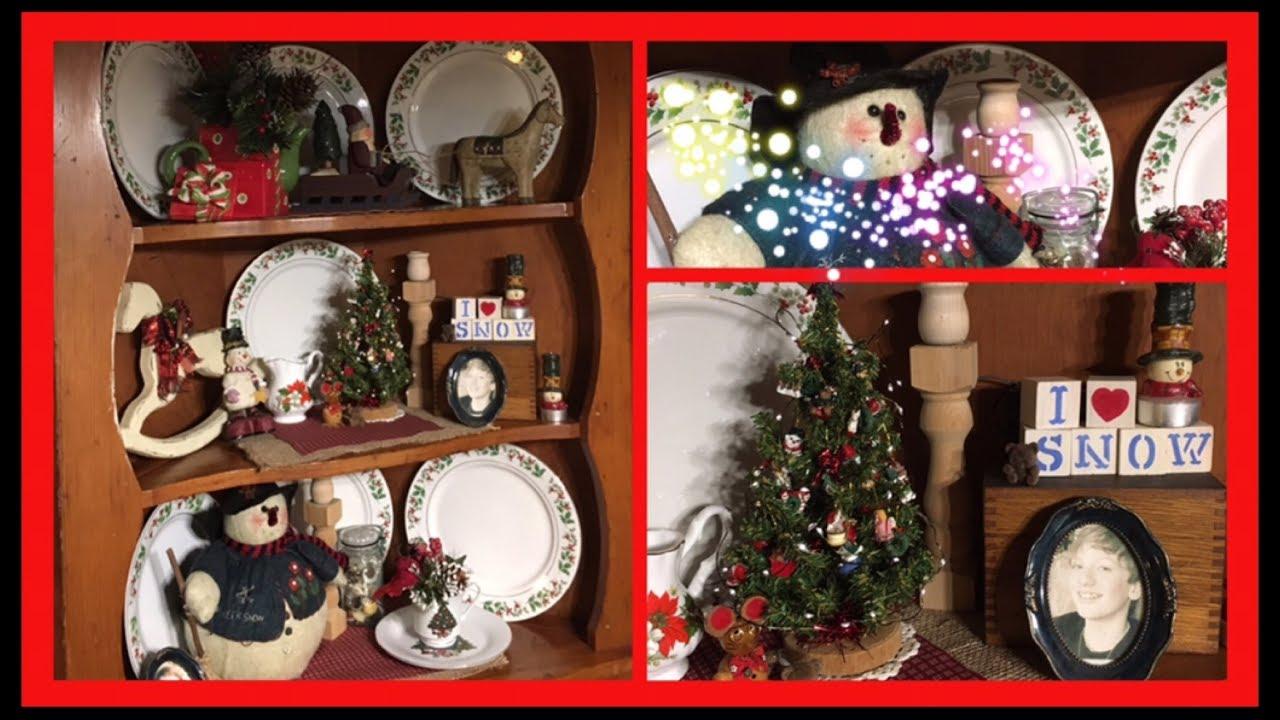decorating a farmhouse christmas hutch - A Farmhouse Christmas