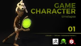 GAME CHARACTER TIMELAPSE | ZBRUSH, 3DCOAT and SUBSTANCE PAINTER | pt 01