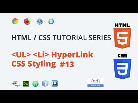 HTML CSS Tutorial (Hindi) #14 || Ul Li Hyperlink Styling In Css And Hover Effects In Css