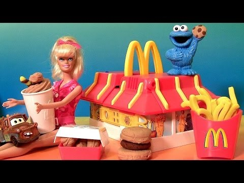 Play Doh McDonald's Restaurant Playset With Cookie Monster Barbie Mold Burgers Fries McNuggets