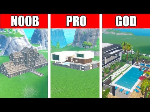 Fortnite NOOB Vs PRO Vs GOD: MODERN MANSION HOUSE BUILD CHALLENGE In Fortnite