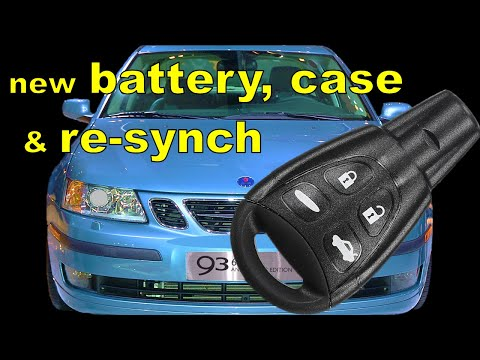 SAAB key fob case and battery replacement and programming (re-synch)