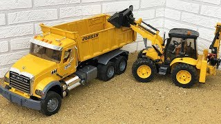 Bruder Toys Construction JCB Backhoe Tractor Excavator, Dump Truck, Bulldozer Video For Kids