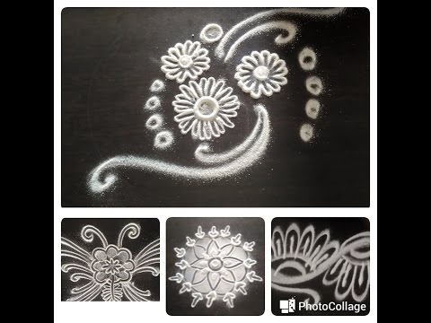 How to make rangoli design in 5 min /simple & quick 4 in one
