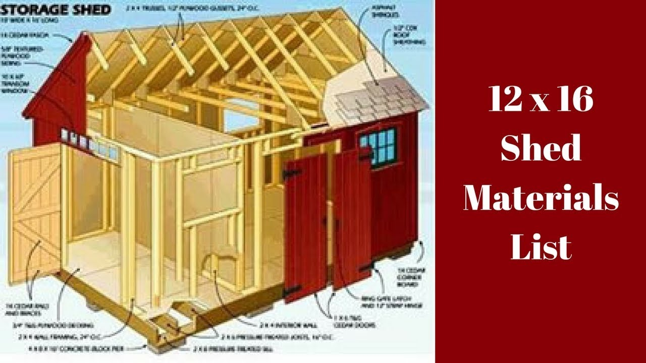 12x16 shed material list youtube for Shed plans and material list