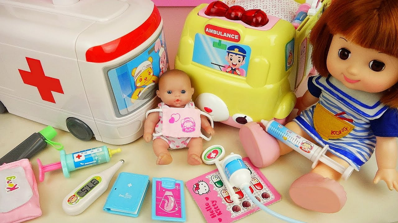 Baby Doll And Ambulance Hosptal Car Toys Doctor Play Youtube