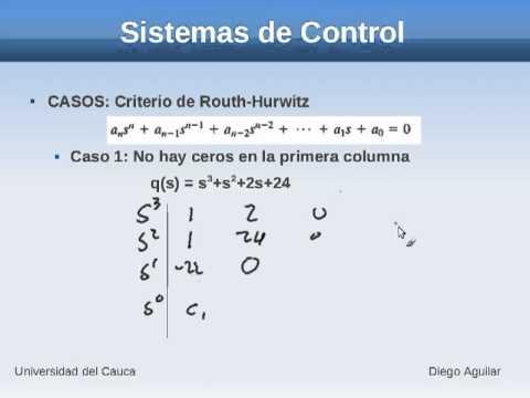 057 Sistemas de Control Estabilidad Criterio de Routh Hurwitz Caso1