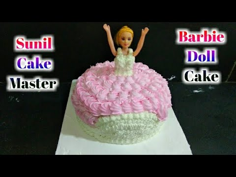 How To Make Barbie Doll Cake   Pink Color Whipped Tutorial    Cream Sunil Cake Master 🎂