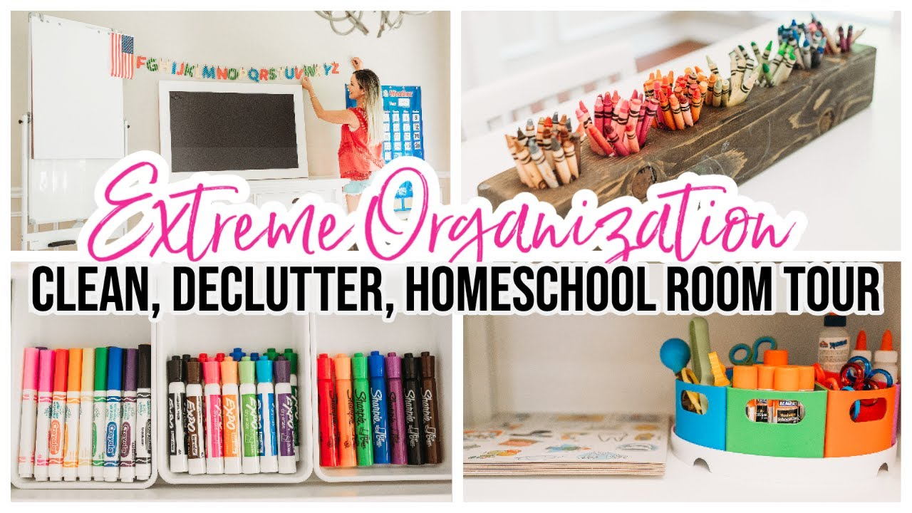 EXTREME CLEAN + ORGANIZE WITH ME! HOMESCHOOL ROOM TOUR FALL 2020 @Brianna K