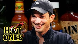Download Ashton Kutcher Gets an Endorphin Rush While Eating Spicy Wings | Hot Ones Mp3 and Videos
