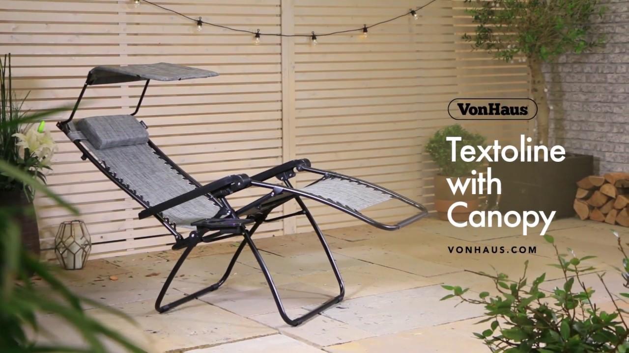 VonHaus Textoline Zero Gravity Canopy Chair
