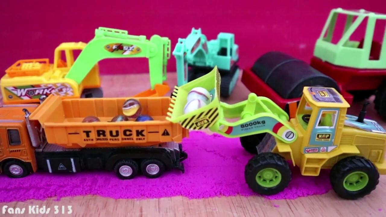 Mainan Loader Dum Truck Compactor Excavator Kelereng Pasir Kinetik