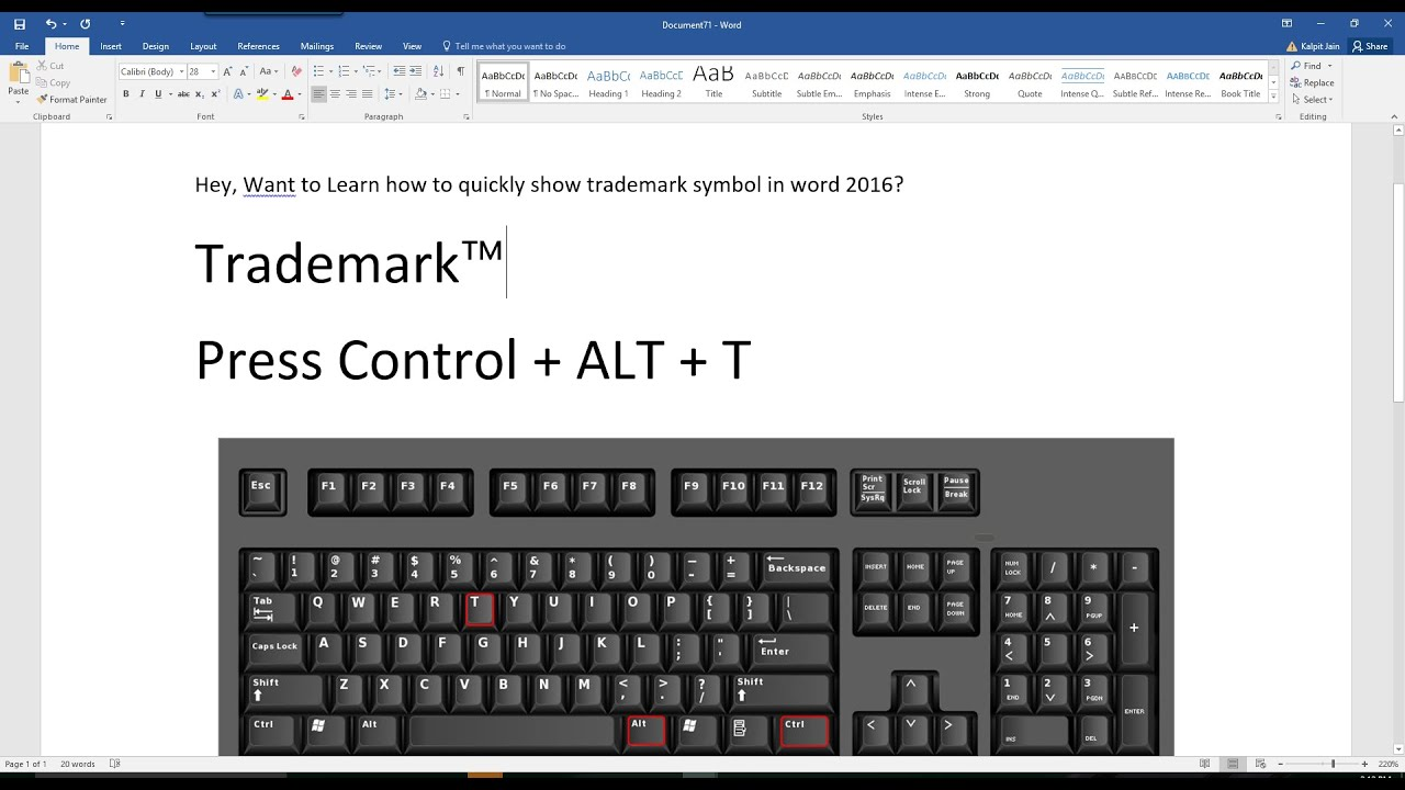 How To Quickly Type Trademark Symbol In Word 2016 Office365