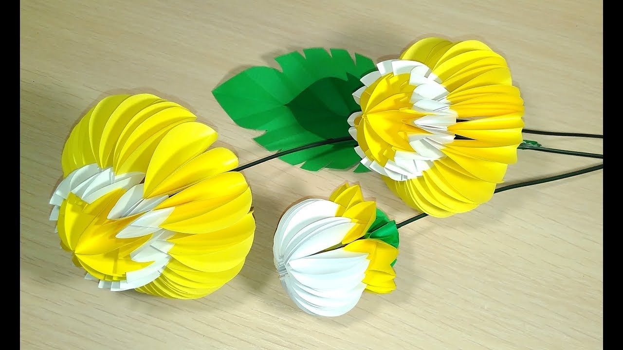 How To Make Daisy Paper Flower for Mother\'s day. Rich chamomile ...