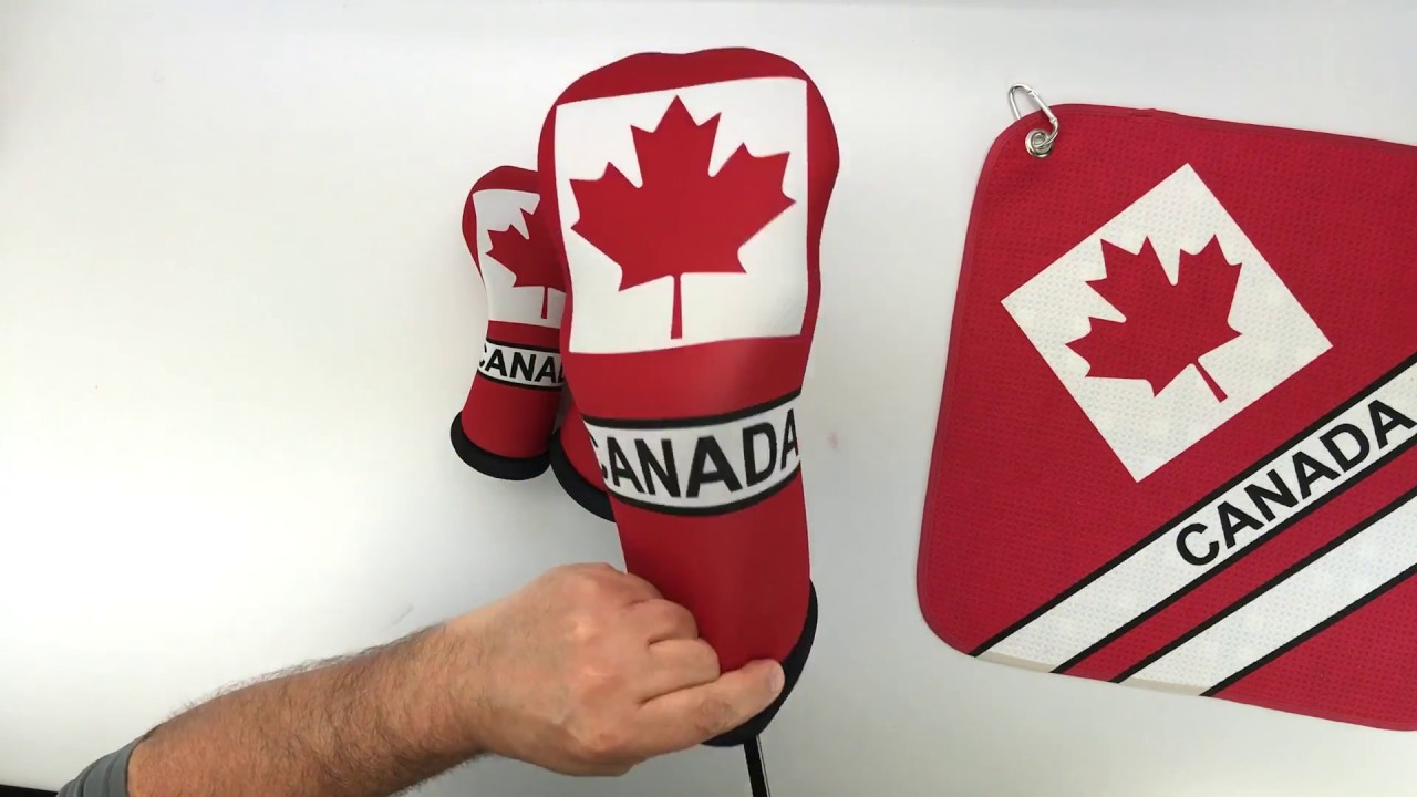 Canada Flag Golf Club Head Covers And Canadian Microfiber Towel Standard By Beejos