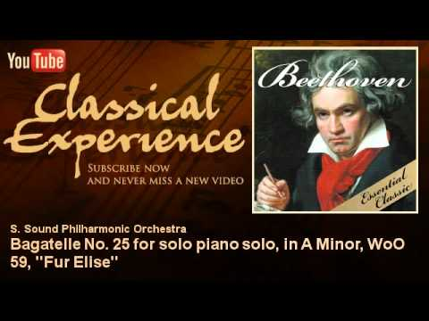Ludwing Van Beethoven : Bagatelle No. 25 for solo piano solo, in A Minor, WoO 59, ''Fur Elise''