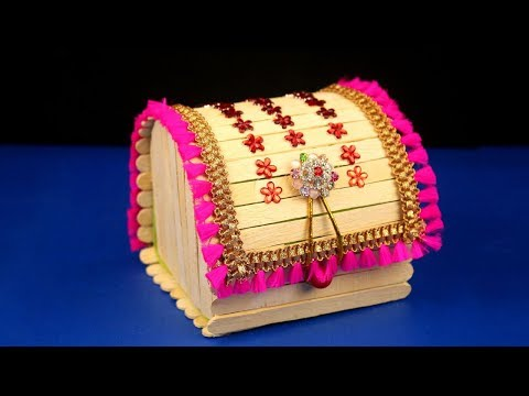 How to Make Jewellery Box at Home/Popsicle stick crafts/Diy craft/Best out of waste