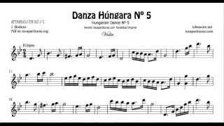 Danza Húngara Nº5 Vídeo Partitura JPG de Violín