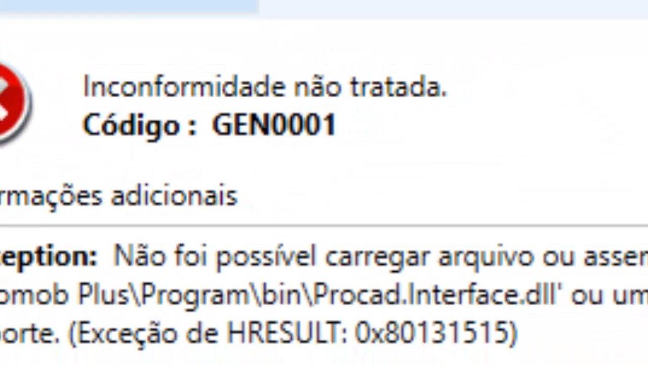Erro promob interface dll ou GEN 0001